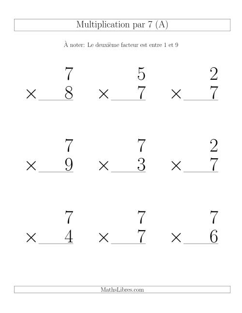 Multiplication par 7 (Variation 1-9)