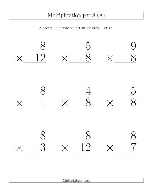 Multiplication par 8 (Variation 1-12)