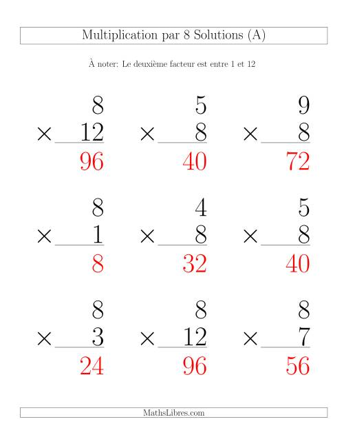 Multiplication par 8 (Variation 1-12) page 2