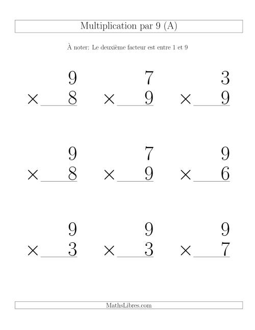Multiplication par 9 (Variation 1-9)