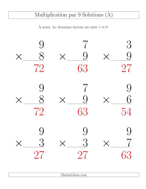 Multiplication par 9 (Variation 1-9) page 2