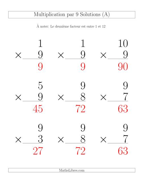 Multiplication par 9 (Variation 1-12) page 2