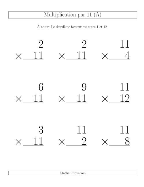 Multiplication par 11 (Variation 1-12)