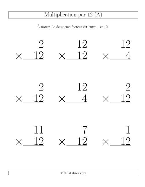 Multiplication par 12 (Variation 1-12)