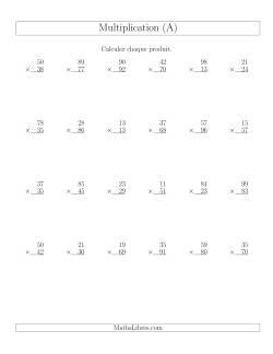 Multiplications 2-chiffres par 2-chiffres (24 par page) (A)