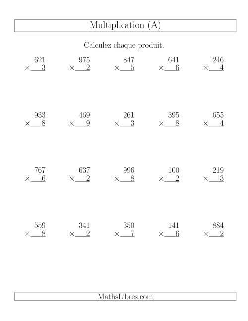 La Multiplications 3-chiffres par 1-chiffre (20 par page) (A) Fiche d'Exercices de Multiplication