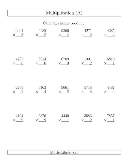 La Multiplications 4-chiffres par 1-chiffre (20 par page) (A) Fiche d'Exercices de Multiplication