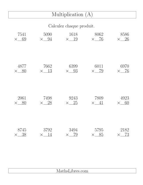 Multiplications 4 chiffres par 2 chiffres 20 par page a for De multiplication
