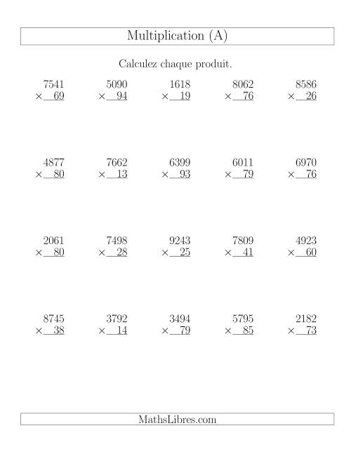 La Multiplications 4-chiffres par 2-chiffres (20 par page) (A) Fiche d'Exercices de Multiplication