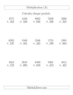 Multiplications 4-chiffres par 3-chiffres (15 par page) (A)