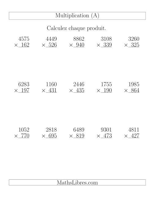 La Multiplications 4-chiffres par 3-chiffres (15 par page) (A) Fiche d'Exercices de Multiplication