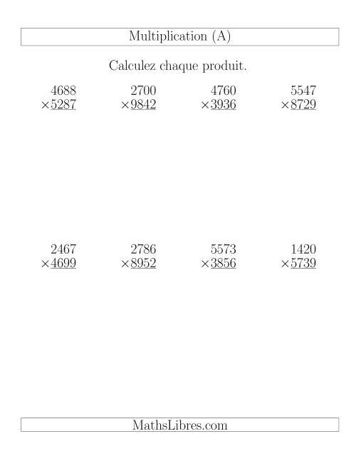 La Multiplications 4-chiffres par 4-chiffres (8 par page) (A) Fiche d'Exercices de Multiplication