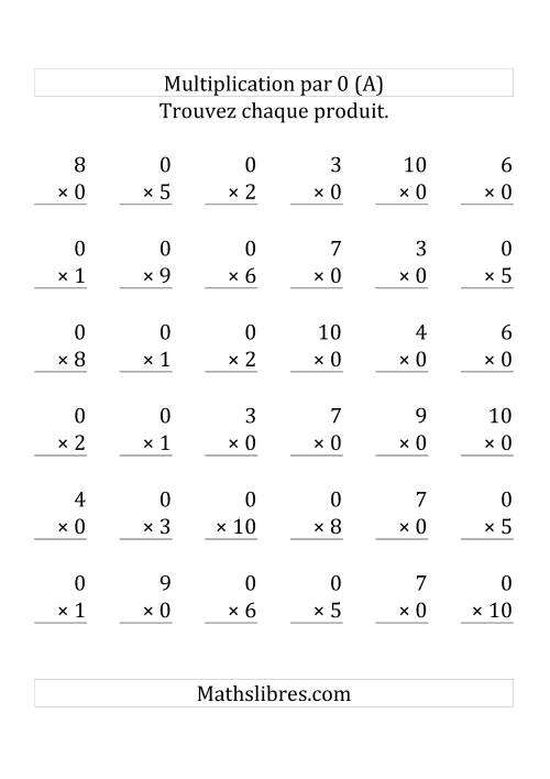 Multiplication par 0 (Variation 1-10) (Grosse Pointe)