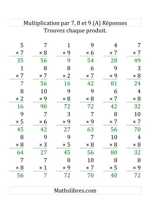Multiplication par 7, 8, 9 (Variation 1-10) (Grosse Pointe) page 2