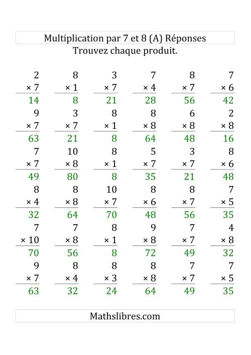 Multiplication par 7 et 8 (Variation 1-10) (Grosse Pointe) page 2