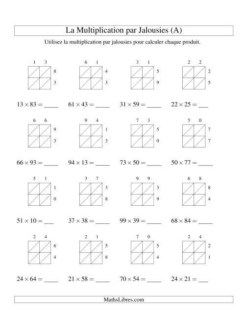 La Multiplication par Jalousies -- 2-chiffres × 2-chiffres (A) Fiche d'Exercices de Multiplication