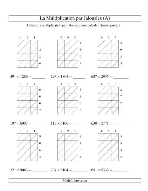 La Multiplication par Jalousies -- 3-chiffres × 4-chiffres (A) Fiche d'Exercices de Multiplication