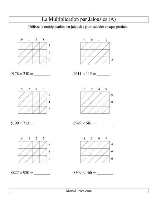 La Multiplication par Jalousies -- 4-chiffres × 3-chiffres (A) Fiche d'Exercices de Multiplication