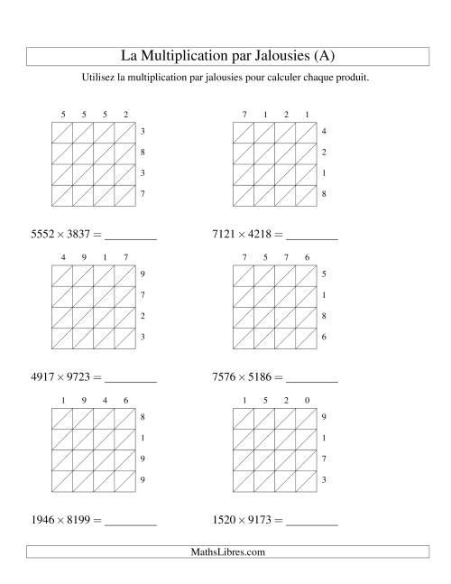 La Multiplication par Jalousies -- 4-chiffres × 4-chiffres (A) Fiche d'Exercices de Multiplication