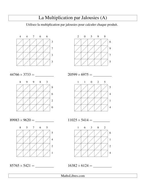 La Multiplication par Jalousies -- 5-chiffres × 4-chiffres (A) Fiche d'Exercices de Multiplication