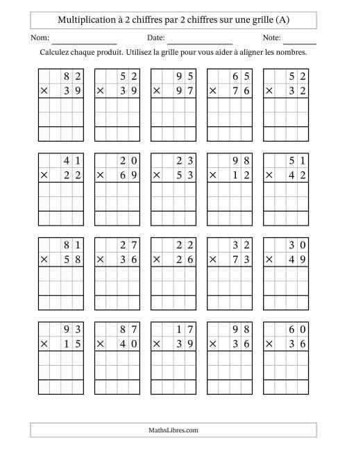 La Multiplication de Nombres à 2 Chiffres par des Nombres à 2 Chiffres (A) Fiche d'Exercices sur la Multiplication Longue