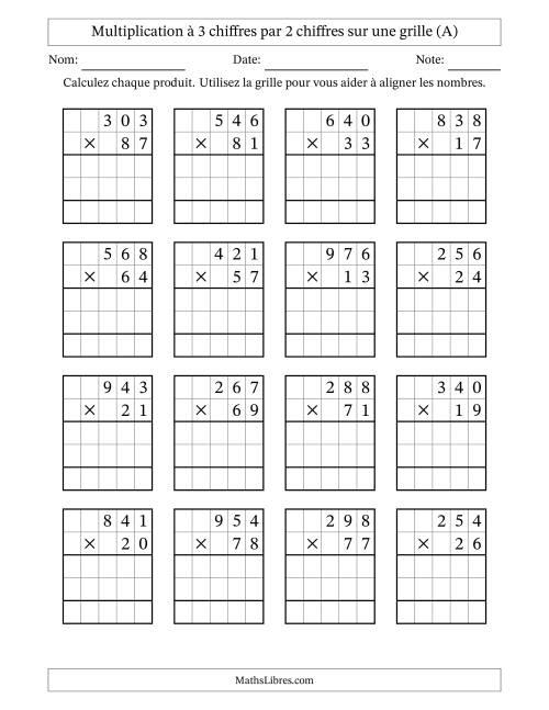 La Multiplication de Nombres à 3 Chiffres par des Nombres à 2 Chiffres (A) Fiche d'Exercices sur la Multiplication Longue