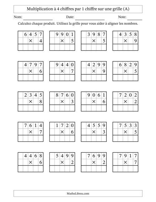 La Multiplication de Nombres à 4 Chiffres par des Nombres à 1 Chiffre (A) Fiche d'Exercices sur la Multiplication Longue
