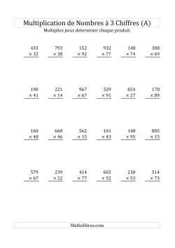 Multiplication de Nombres à 3 Chiffres par des Nombres à 2 Chiffres (A)