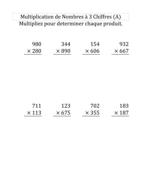 La Multiplication de Nombres à 3 Chiffres par des Nombres à 3 Chiffres (Grand Format) Fiche d'Exercices sur la Multiplication Longue