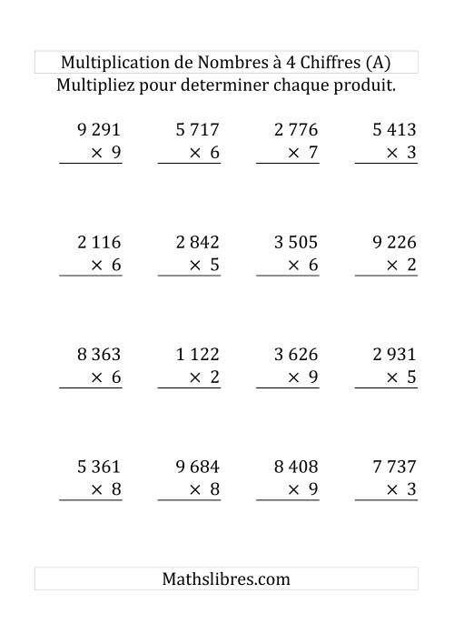 La Multiplication de Nombres à 4 Chiffres par des Nombres à 1 Chiffre (Grand Format) Fiche d'Exercices sur la Multiplication Longue