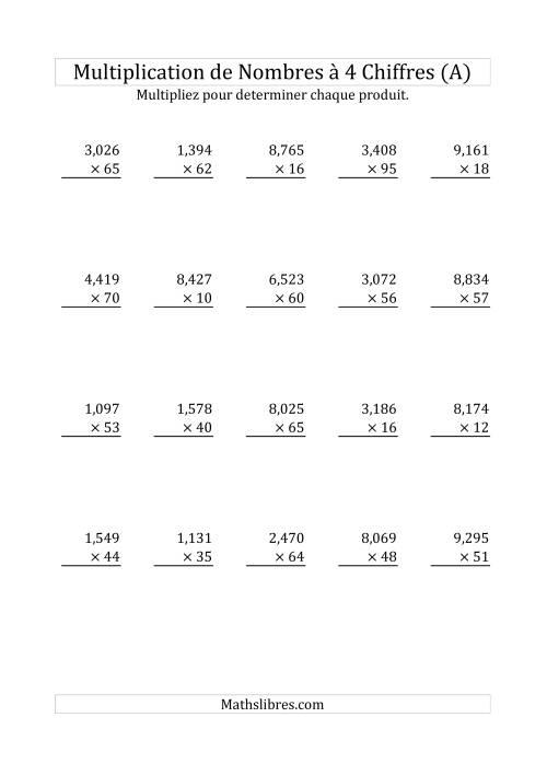 La Multiplication de Nombres à 4 Chiffres par des Nombres à 2 Chiffres (A) Fiche d'Exercices sur la Multiplication Longue