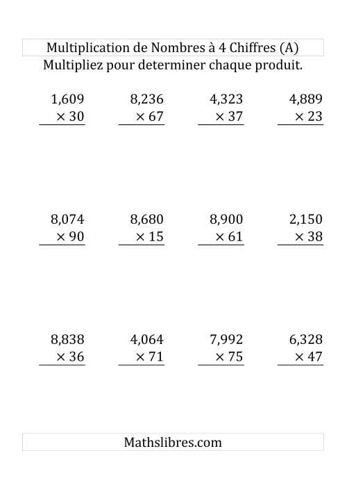 La Multiplication de Nombres à 4 Chiffres par des Nombres à 2 Chiffres Fiche d'Exercices sur la Multiplication Longue