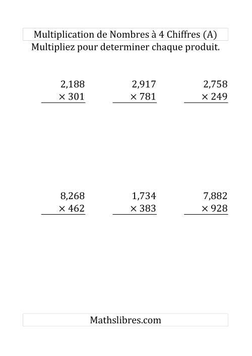 La Multiplication de Nombres à 4 Chiffres par des Nombres à 3 Chiffres (Grand Format) Fiche d'Exercices sur la Multiplication Longue