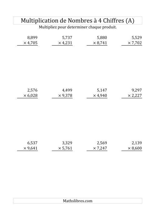 La Multiplication de Nombres à 4 Chiffres par des Nombres à 4 Chiffres (A) Fiche d'Exercices sur la Multiplication Longue