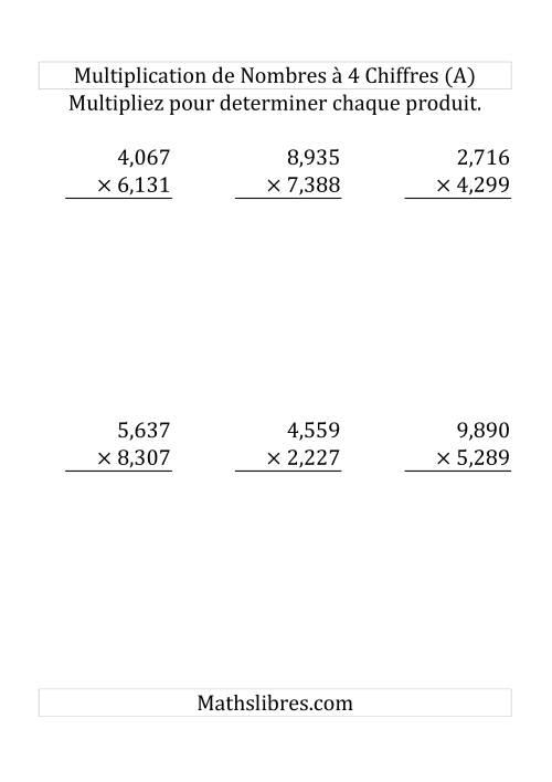 La Multiplication de Nombres à 4 Chiffres par des Nombres à 4 Chiffres (Grand Format) Fiche d'Exercices sur la Multiplication Longue