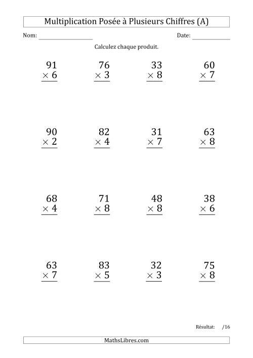 La Multiplication d'un Nombre à 2 Chiffres par un Nombre à 1 Chiffre (Gros Caractère) (A) Fiche d'Exercices sur la Multiplication Posée