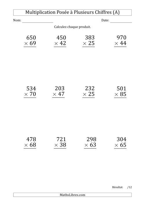 La Multiplication d'un Nombre à 3 Chiffres par un Nombre à 2 Chiffres (Gros Caractère) (A) Fiche d'Exercices sur la Multiplication Posée