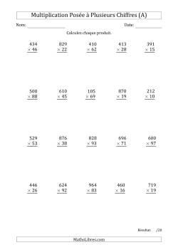 Fiches d 39 exercices sur la multiplication pos e - Evaluation tables de multiplication ...