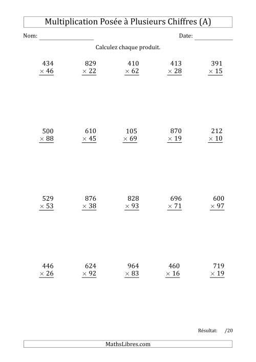 La Multiplication d'un Nombre à 3 Chiffres par un Nombre à 2 Chiffres (A) Fiche d'Exercices sur la Multiplication Posée