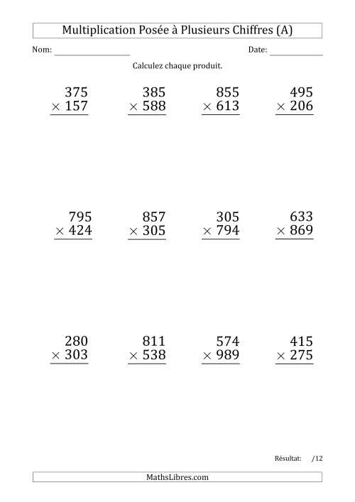 La Multiplication d'un Nombre à 3 Chiffres par un Nombre à 3 Chiffres (Gros Caractère) (A) Fiche d'Exercices sur la Multiplication Posée