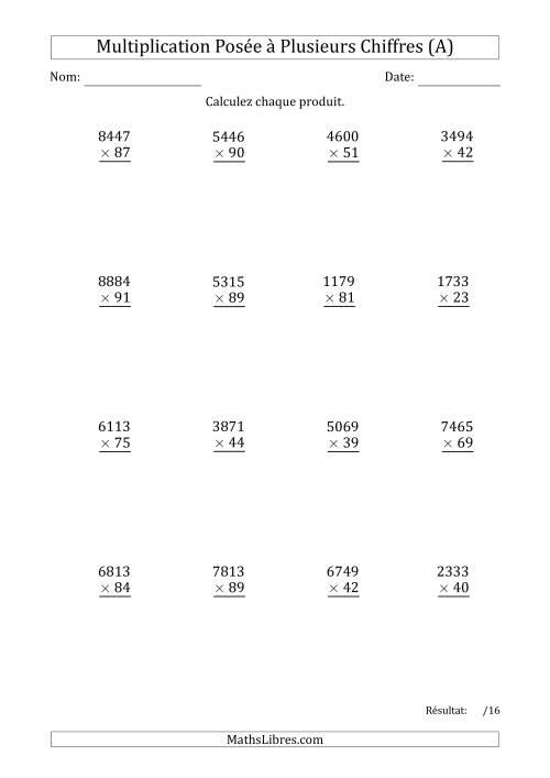 La Multiplication d'un Nombre à 4 Chiffres par un Nombre à 2 Chiffres (A) Fiche d'Exercices sur la Multiplication Posée