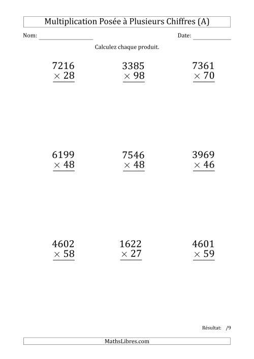 La Multiplication d'un Nombre à 4 Chiffres par un Nombre à 2 Chiffres (Gros Caractère) (A) Fiche d'Exercices sur la Multiplication Posée