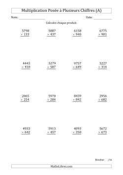 Multiplication d'un Nombre à 4 Chiffres par un Nombre à 3 Chiffres (A)