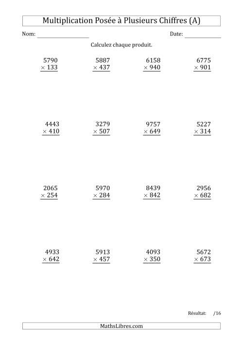 La Multiplication d'un Nombre à 4 Chiffres par un Nombre à 3 Chiffres (A) Fiche d'Exercices sur la Multiplication Posée