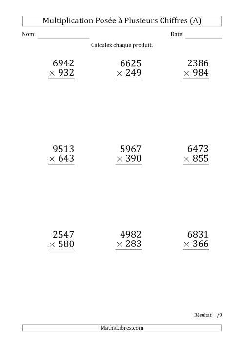 La Multiplication d'un Nombre à 4 Chiffres par un Nombre à 3 Chiffres (Gros Caractère) (A) Fiche d'Exercices sur la Multiplication Posée
