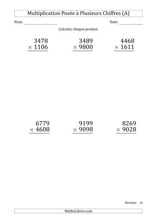 La Multiplication d'un Nombre à 4 Chiffres par un Nombre à 4 Chiffres (Gros Caractère) (A) Fiche d'Exercices sur la Multiplication Posée