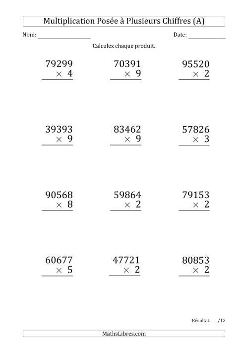 La Multiplication d'un Nombre à 5 Chiffres par un Nombre à 1 Chiffre (Gros Caractère) (A) Fiche d'Exercices sur la Multiplication Posée