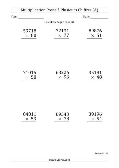 La Multiplication d'un Nombre à 5 Chiffres par un Nombre à 2 Chiffres (Gros Caractère) (A) Fiche d'Exercices sur la Multiplication Posée