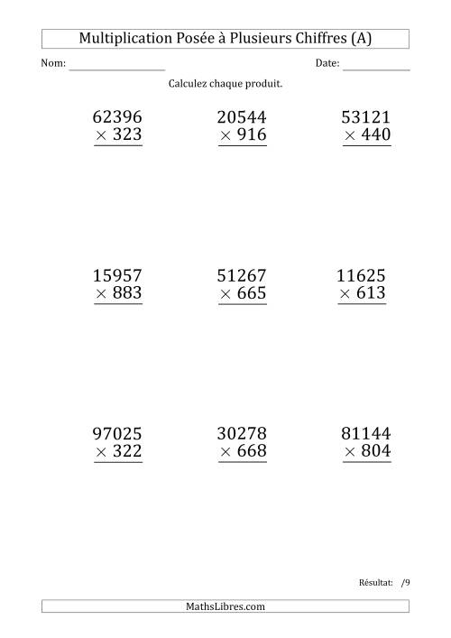 La Multiplication d'un Nombre à 5 Chiffres par un Nombre à 3 Chiffres (Gros Caractère) (A) Fiche d'Exercices sur la Multiplication Posée