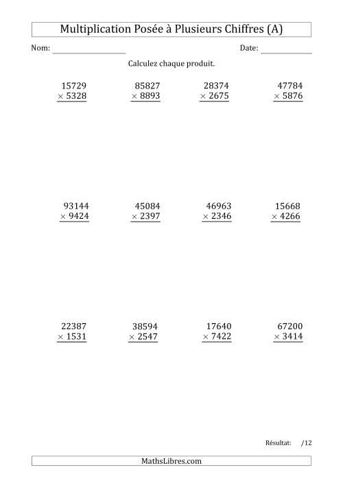 La Multiplication d'un Nombre à 5 Chiffres par un Nombre à 4 Chiffres (A) Fiche d'Exercices sur la Multiplication Posée